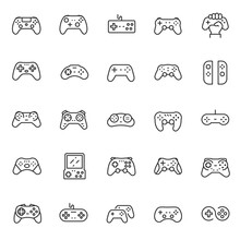 Gamepad, Joypad, Icon Set. Gamepads. Video Game Controller, Linear Icons. Line With Editable Stroke