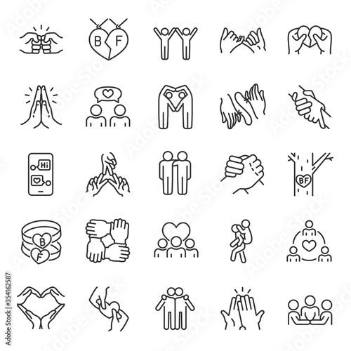 Friendship, icon set Billede på lærred