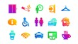 Elevator, Taxi and Wifi internet. Public services icons. Fast food classic icon set. Gradient patterns. Quality signs set. Vector