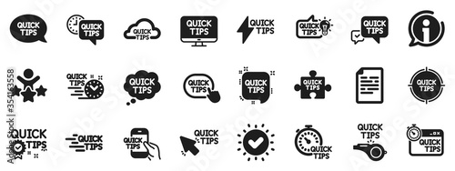 Fotografía Set of Helpful tricks, Solution and Quickstart guide icons