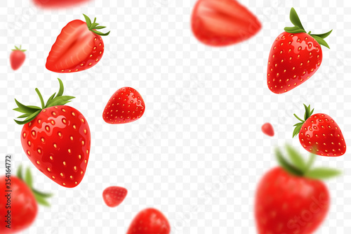 Fotografiet Falling juicy ripe strawberry with green leaves isolated on transparent background