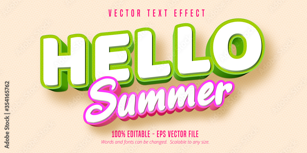 Fototapeta Hello summer text, comic style editable text effect