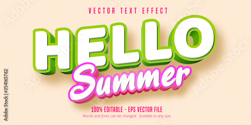 Obraz Hello summer text, comic style editable text effect - fototapety do salonu