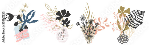 Set abstract floral background isolated on white. Vector Fotobehang