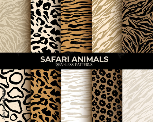 Animal fur print seamless patterns, leopard, tiger and zebra seamless backgrounds, vector abstract texture. African animals fur, jungle camouflage skin hair patterns, simple flat brown, beige set
