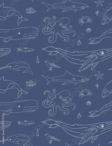Fototapeta Vector seamless pattern of white hand drawn doodle sketch sea animals and fish isolated on blue background obraz