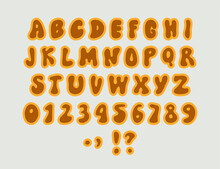 A 1970s 1960s Styled Retro Alphabet. Grunge Isolated Doodle Hand Drawn Font