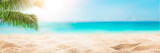 Fototapeta Fototapety z morzem do Twojej sypialni - Sunny tropical beach with palm trees and turquoise water, Caribbean island vacation, hot summer day