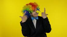 Senior Old Woman Clown In Wig ...