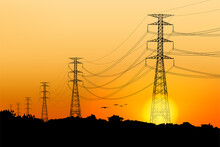 Electric Post And Sunrise Scenery