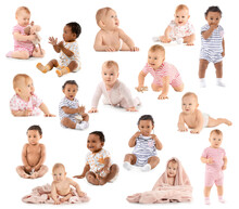 Collage With Cute Little Babies On White Background