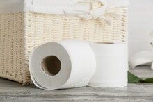 Rolls Of Toilet Paper On Table