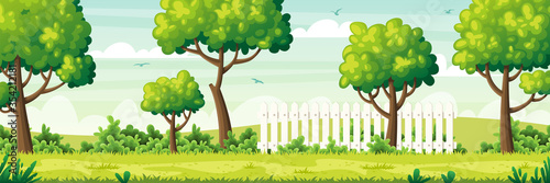 Obraz Summer garden landscape with fence. Vector illustration with separate layers. - fototapety do salonu