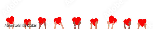 Foto Donation banner with children hands holding and giving red hearts