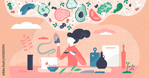 Obraz Cooking process vector illustration. Thinking new recipe tiny person concept - fototapety do salonu