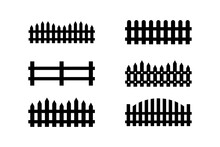 Fence Icon Set . Editable Icons. Rural Wooden Fences, Pickets Vector. Different Garden Fences Vector Illustration. Vector Illustration.