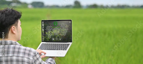 Fotografía Cropped image of young smart farmer holding a computer laptop with visual icon on screen over rice field as background