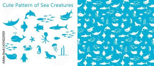 Foto 可愛い海の生物のパターン