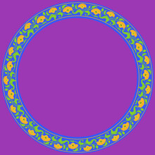 Vintage Round Frame With Yellow Tulips. Art Nouveau Style. Vector.