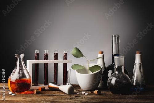 Fototapeta Different potions on alchemist's table obraz