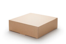 Brown Cardboard Box Isolated O...