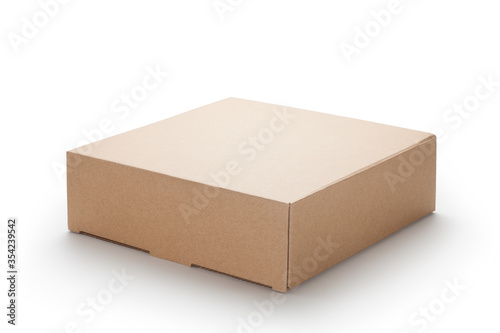 Foto Brown cardboard box isolated on white background