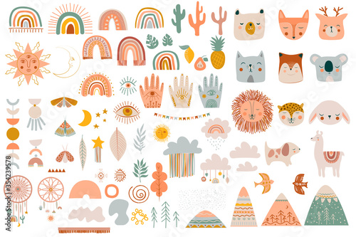 Photo Set of cute kids boho elements, hand draw doodle and animals