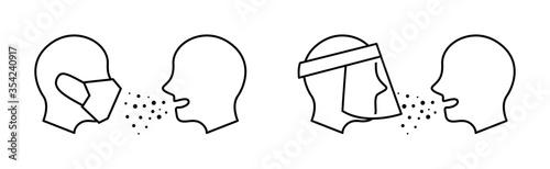 Fotomural フェイスマスクやフェイスシールドを使用して病気の飛沫感染を予防すること