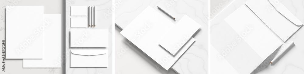 Fototapeta Corporate identity stationery mock up isolated on white marbel background. Mock up for branding identity. 3D illustration
