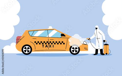 Obraz service taxi disinfection by coronavirus or covid 19 - fototapety do salonu