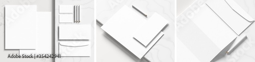 Corporate identity stationery mock up isolated on white marbel background. Mock up for branding identity. 3D illustration