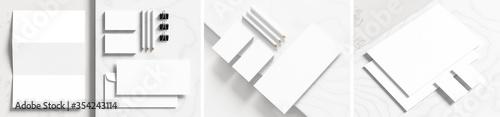Fotografia Corporate identity stationery mock up isolated on white marbel background