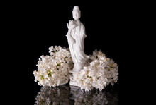 Guanyin Framed By White Lilac ...