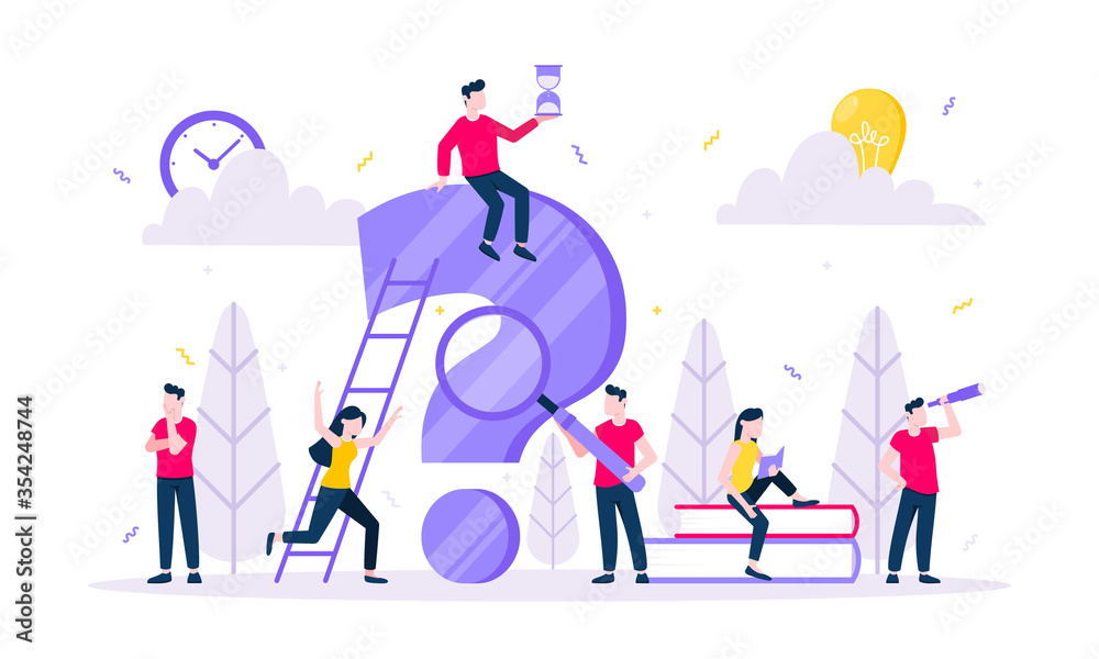 Fototapeta Q and A or FAQ concept with tiny people character, big question mark, frequently asked questions template. Answers business support concept flat style design vector illustration.