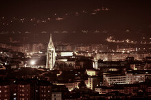 Night View Of A Cathedral Surr...