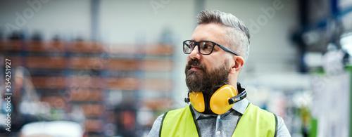 Technician or engineer with protective headphones standing in industrial factory Slika na platnu