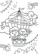 Boy And Cute Bear Ride On Hot Air Balloon Coloring Page