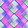 canvas print picture - Seamless pattern retro design. Multicolor print with glitched squares. Watercolor effect. Suitable for bed linen, leggings, shorts and fashion industry.
