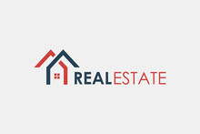 Real Estate Logo. Blue And Red House Symbol Geometric Linear Style Isolated On White Background. Usable For Construction Architecture Building Logo Design Template Element.