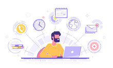 Happy Business Man With Multitasking Skills Sitting At His Laptop With Office Icons On A Background. Freelance Worker. Multitasking, Time Management And Productivity Concept. Vector Illustration.