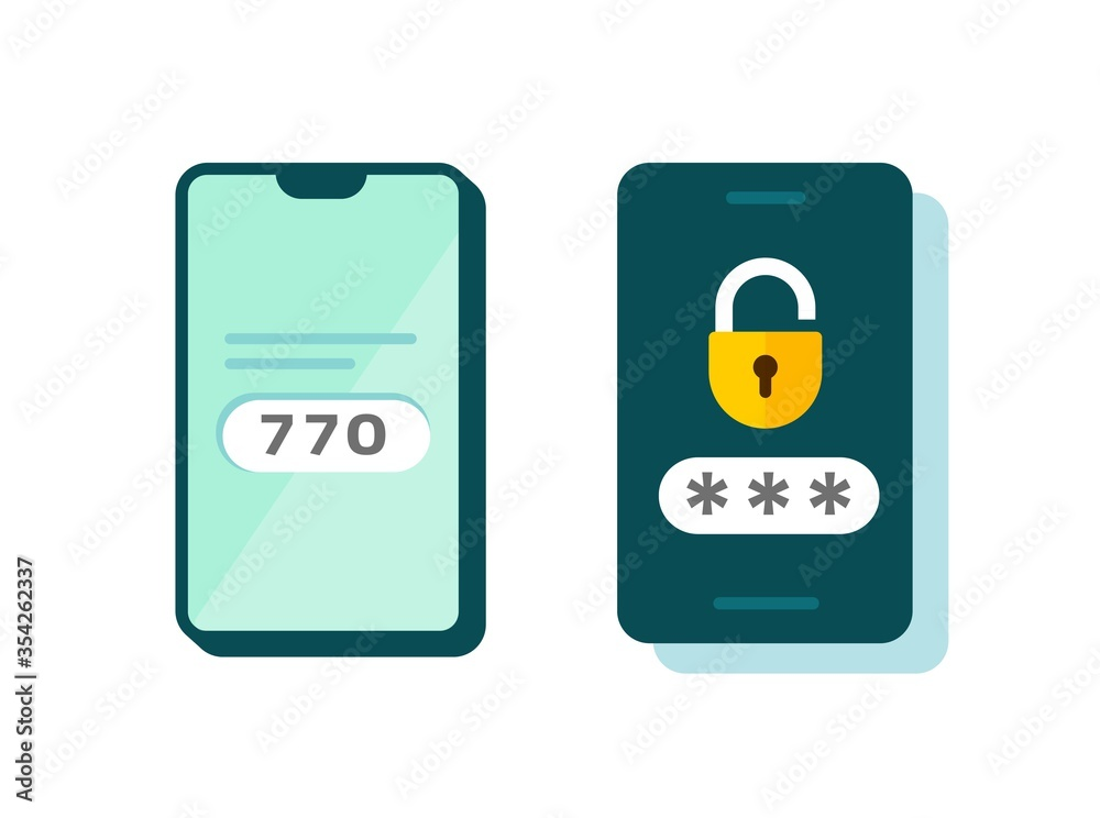 Fototapeta 2fa icon vector password secure login authentication verification flat cartoon or sms push code messages symbol on smartphone mobile phone isolated pictogram, two factor or multi factor cellphone