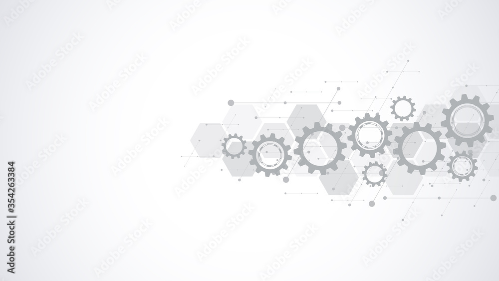 Fototapeta Cogs and gear wheel mechanisms. Hi-tech digital technology and engineering. Abstract technical background.