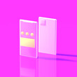 canvas print picture - Two smartphones in a plastic toy style with apps in the screen stand on a bright pink background. 3D render.