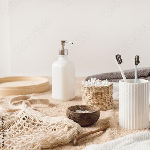 Fototapeta Beauty, health care morning routine products. Female spa, wellness, treatment essentials obraz na płótnie