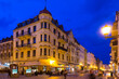 Leinwanddruck Bild - Torun  city historical streets and  building at evening in Poland