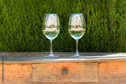 Dos copas de vino blanco sobre una mesa de madera rústica y con un fondo verde de un arbusto Fototapet