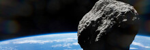 Asteroid Approaching Planet Ea...