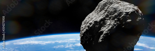 Photo asteroid approaching planet Earth, meteorite in orbit before impact, background