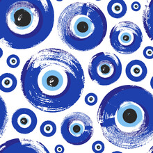Seamless Pattern With Hand Drawn Turkish Eye. Symbol Of Protection Turkey, Greece, Cyprus, Crete. Background With Magic Items, Attributes. Amulet - Blue Turkish Fatima's Eye.