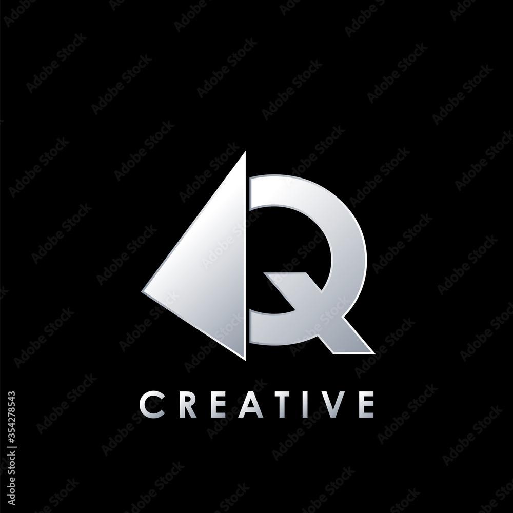 Fototapeta Techno Split Half Letter Q Logo Vector Design Template with geometrical triangle shape.